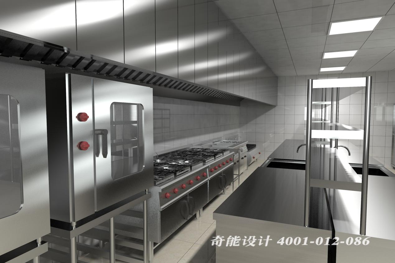 酒店3d厨房设计效果图