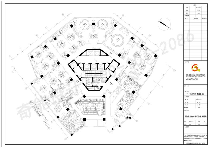 中发源西北盛宴清真餐厅厨房设计平面图