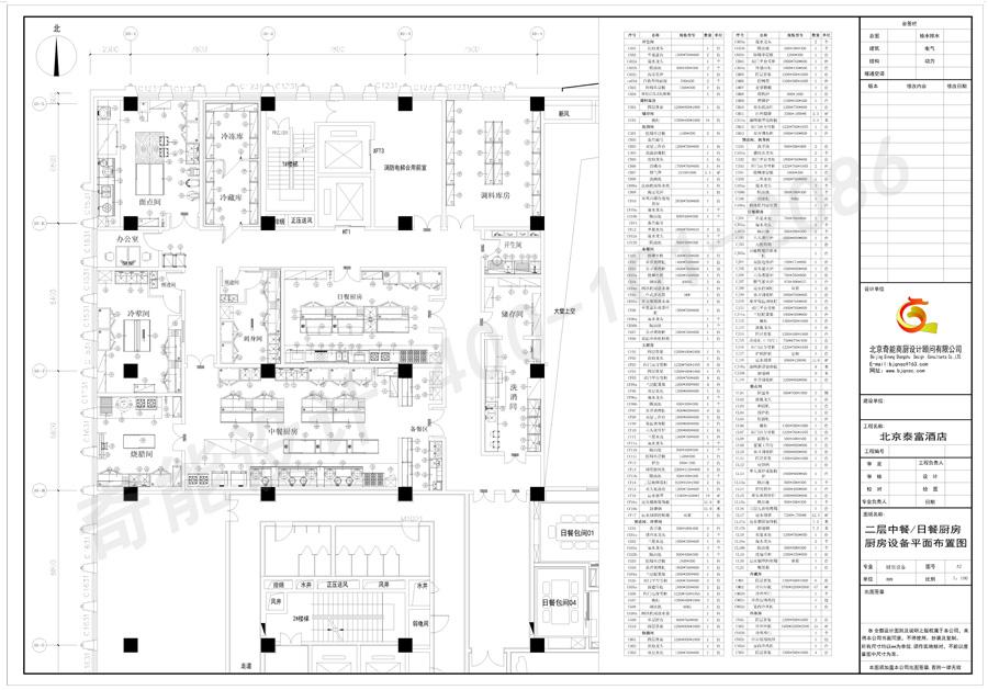 北京泰富酒店中餐及日餐厨房设计平面图